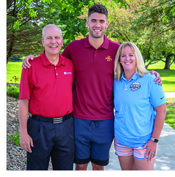 Brian Dieter, Georges Niang and Lyndsey Fennelly at the Georges Niang Golf Tournament