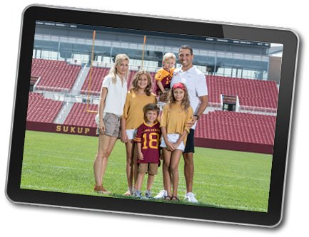 The Campbell Family Foundation provided support to enhance  Mary Greeley's Pediatrics treatment room. The Campbells are shown here in Jack Trice Stadium, where they obviously spend a lot of time.