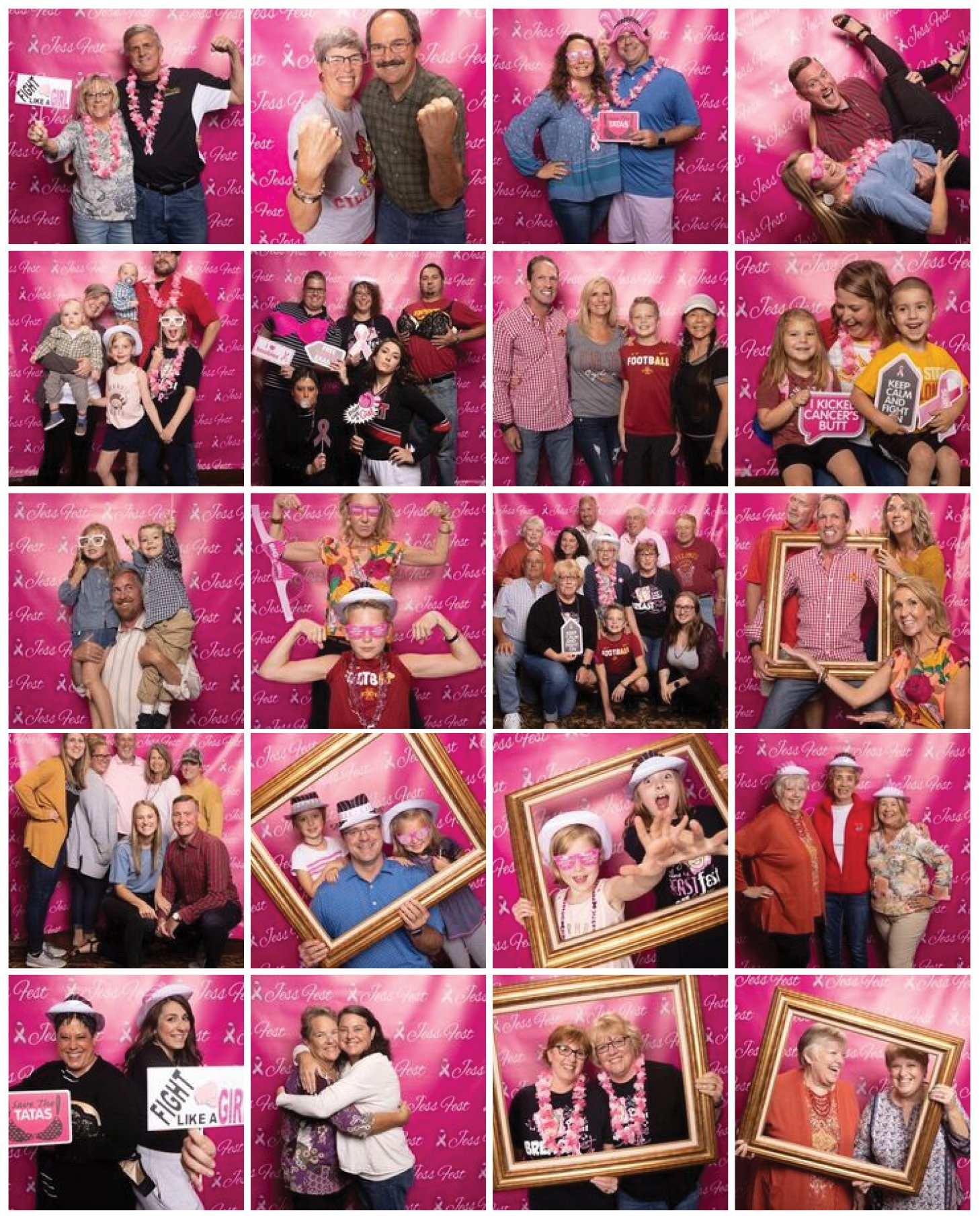 Collage of JessFest photos, various people on a pink background.
