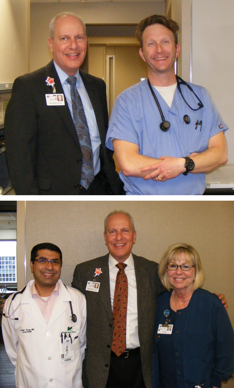 Pictured are: (Top) Dr Jonathan Burns and Brian Dieter, (Bottom) Dr Chug, Brian Dieter and Kelly Maher