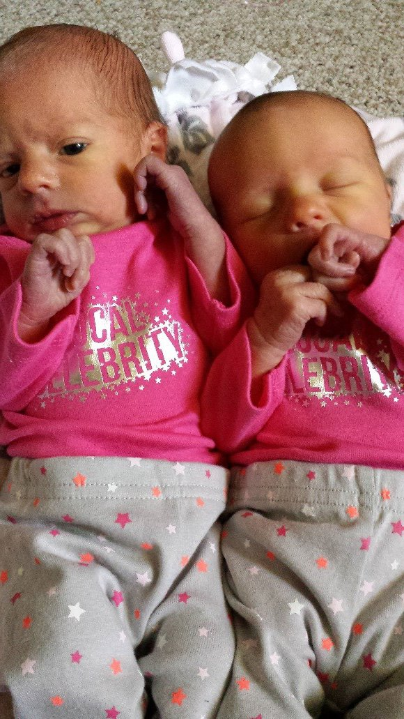 Tatum (left) and Tacie: 4 days old.