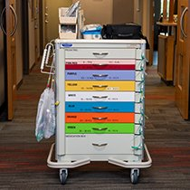 Crash carts are used when responding to a medical emergency in the hospital. They contain equipment and medications that might be needed, depending on the patient's condition. Mary Greeley has specialized crash carts for pediatric patients. These patients are treated differently than adults because of their size.