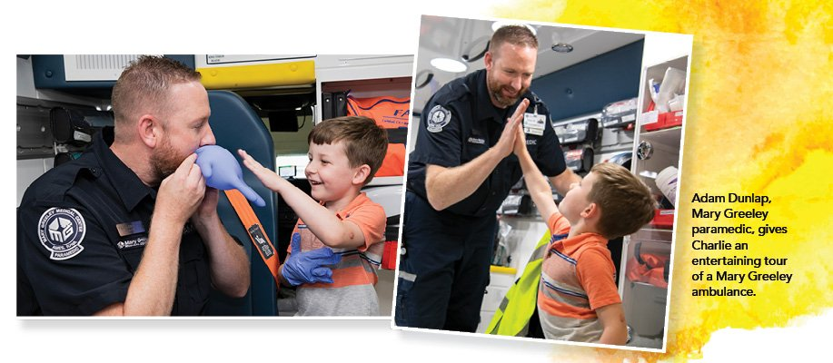 Health Connect Summer 2019. Paramedics, Kids and Ducks Banner. Adam Dunlap, Mary Greeley paramedic, gives Charlie an entertaining tour of a Mary Greeley ambulance.