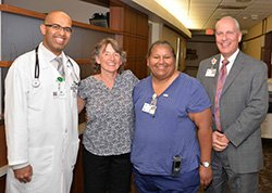 Nurse Ruthie Castro-Santana and Dr. Swaleh Bahamadi Recognized by a Grateful Patient