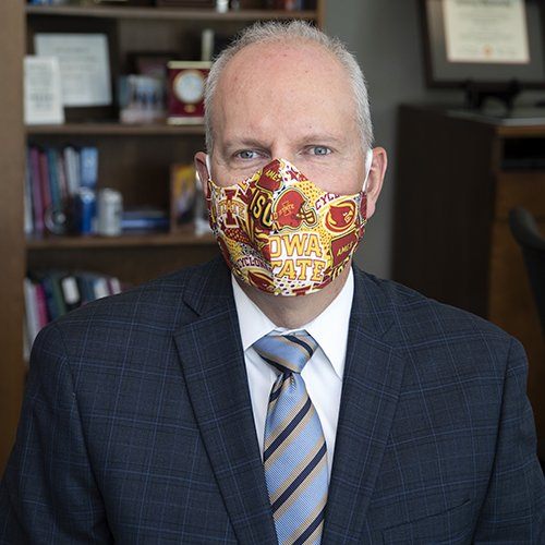 Brian Dieter - President & CEO of Mary Greeley proudly wears his Iowa State Cyclones mask