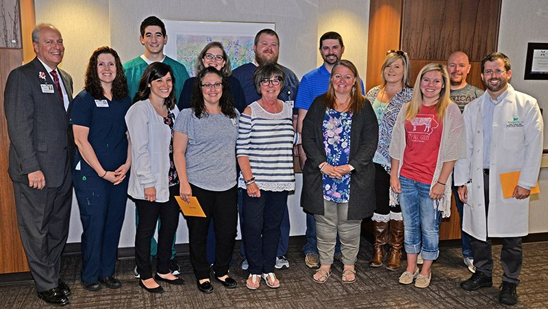 Pictured are: Front Row (L to R): Rachel Brekke, Jo-el Sprecher, Melissa Peterson, Kathy Blome, Courtney Friest, Michaela Friest, Dr. Dan Fulton Back Row (L to R): Tom Lunaburg, Janelle Browning, Gary Darr, Chris Blome, Emily Hager, Jon Hager Not Pictured: Dr. Debra Prow